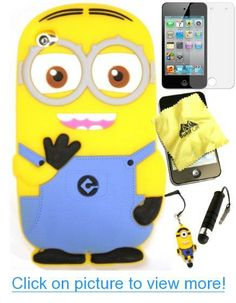 Bukit Cell ® Despicable Me Case Bundle - 5 items: Dave 3D Despicable Me Minion (Light Blue) Soft Silicone Case Cover for iPod Touch 4 4G 4th Generation   BUKIT CELL Trademark Lint Cleaning Cloth   Minion Figure Anti Dust Plug Stylus Touch Pen   Screen Protector   METALLIC Stylus Touch Pen with Anti Dust Plug