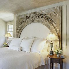 What a great idea for a headboard... can't remember where I found this. :(