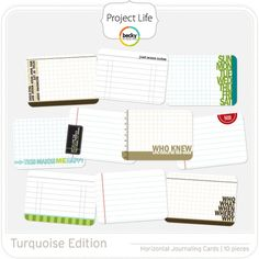 Project Life - Turquoise (horizontal) - Journaling Cards; digital