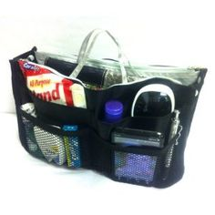 Marley Black with Grey Interior Handbag Purse Travel Cosmetic Make-Up Tote Travel Bag Organizer Insert Dimensions: L 11