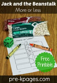 Free Printable Jack and the Beanstalk More or Less Activity #preschool #kindergarten