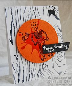 handmade Halloween card fromJazzy Paper Designs: Curtain Call-Spooky Scene ... woodgrain stamped background circle focal point in orange with a splat of red, a skeleton and an spider ... fun card!