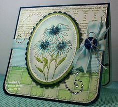 qftd150,  Beautiful Blue Daisies blue daisi, color, oliv, card, paper crafts, beauti blue, blue roses