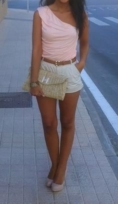 Light pink top with white shorts