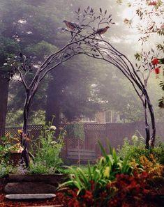 Garden trellis by Shawn Lovell Metalworks bird, secret gardens, metal, garden trellis, garden gates, arbor, fairi, garden arches, tree branches