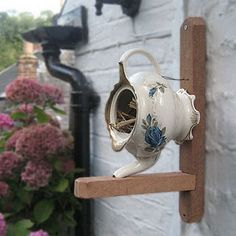 Tea pot bird's nest-- back yard tea house  I am going to make a few of these! Yard sale shopping is in my future! birdhous, houses, teapot bird, teapots, bird nests, bird of paradise, birds, garden, bird hous