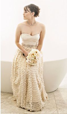 Gown // Glamorous Urban Boho Luxe Art Deco Gold Wedding Ideas and Inspiration