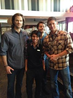 Misha, Jared and Jensen with a lucky person.