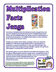 Use these multiplication fact strips to make Jenga into a fun way for students to practice their basic multiplication facts. There are 54 multiplic...