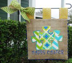 Burlap Garden Flag  Easter Crosses by sewgoddesscreations on Etsy, $25.00