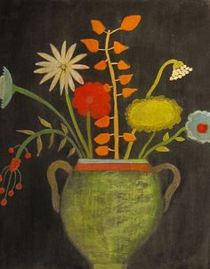 FOLK ART STILL LIFE FLOWERS ACRYLIC PAINTING EXPLORED by peregrine blue,