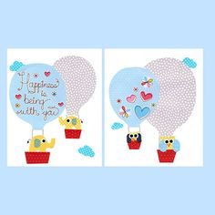 Owls in a Hot Air Balloon Nursery Artwork Print Baby Room Decoration Kids Room Decoration // Gifts Under 20 print wall art childrens on Etsy, $28.00