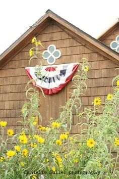 Barn with flag bunting