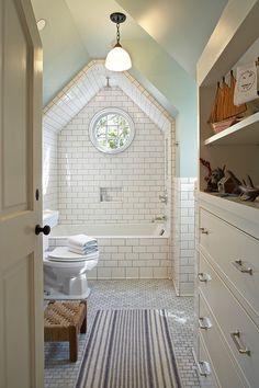 Tim Barber - Vintage bathroom with vaulted ceiling, subway tiles shower surround, green ...