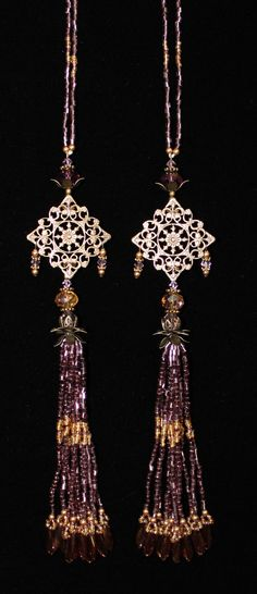 BEADED TASSELS  Purple and Gold beads by GMBDesignsCustom on Etsy, $29.00