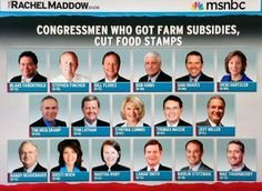Congress Members who rec'vd  Farm Subsidies while voting to cut food stamps.