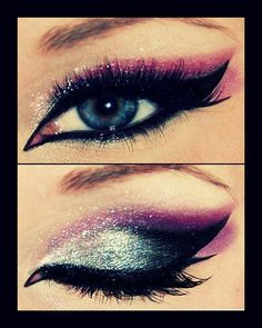 silver and pink with cat liner and false lashes
