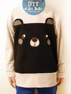 petit à petit and family: DIY: Easy Black Bear Sweatshirt