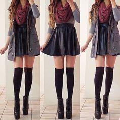 thigh high knee socks with flare skirt | ... skirt, maroon infinity scarf, oversized vest, thigh-high socks