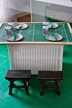 World Cup Soccer themed birthday party : Table set up