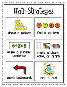 Here's a strategy page for students and a set of poster cards for a problem solving board.