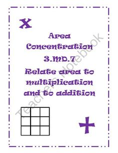 Area Concentration from lisa00 on TeachersNotebook.com -  (5 pages)  - Area Center relating tiling to find area to multiplication and addition