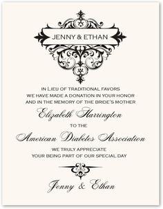 Wedding Gift List Charity : Abbey Cocktail Monogram Wedding Charity Gift Card