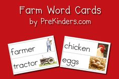 Farm Picture-Word Cards - PreKinders