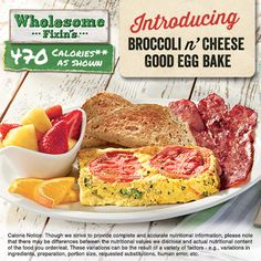 Made with Egg Beaters and blended with Colby and Parmesan cheeses, then loaded with fresh broccoli and hashbrown potatoes, topped with vine-ripened tomato slices and baked.
