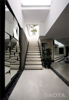 interior design, living walls, mirrors, stair, blank walls