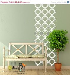 ON SALE Woven Trellis Pattern  Vinyl Wall by wordybirdstudios, $55.21