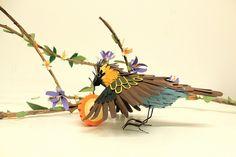 pretti paper, sculptures, paper chaffinch, beauti bird, papers, bird sculptur, birds