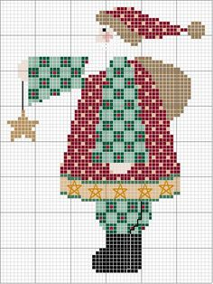 Free Cross Stitch Pattern: Country Santa holding Star