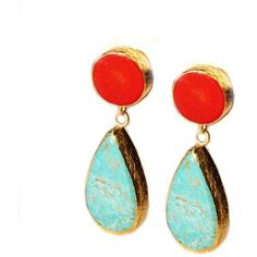 toosis Turquoise And Coral Earrings ($81) found on Polyvore