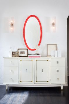 pop of neon credenzas, mirrors, orang, neon, colors, dressers, sconces, paints, white cabinets