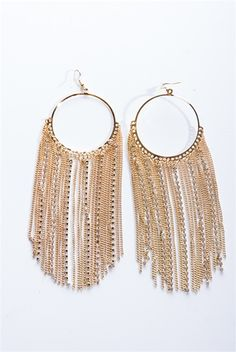 Deceptively Decadent Tassel Chain Earrings - Gold from Jewelry & Accessories at Lucky 21
