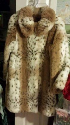 New 3 4 Length Pamela McCoy Faux Fur Coat Size L Large Free Head Wrap | eBay
