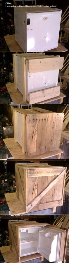 Ugly minifridge gets a facelift by having it covered with upcycled pallet wood.