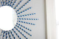 DIY Paper Straw Starburst Mirror