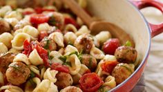 My Orrechiette with Mini Chicken Meatballs This is a perfect dish for parents and kids to make together. Let the little ones roll the meat mixture into tiny balls while you sauté each batch and do the knife work. At the end everyone can help stir the pasta, meatballs, and cheese and tomatoes together.
