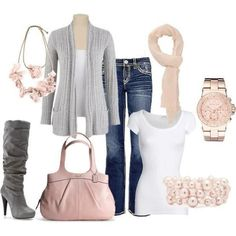 I found Spring Outfit with Boots (Heels), Watch, Bracelet, Scarf, Cardigan on Wish, check it out!