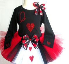 3T/4T Queen of Hearts tutu & rhinestone t-shirt costume  Alice in Wonderland