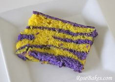 How to make LSU Tiger Striped Inside cake! Dump colored batter in 1/3 cup at a time, alternating which one you use. GEAUX!