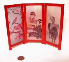 Freestanding oriental screen with Geisha by AuntElliesMiniatures, $29.50