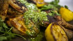 Chicken under-a-brick with tangy chimichurri sauce