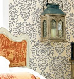 Elizabethan Damask: Reusable, Wall Stencils, DIY decor - damask, damask stencil, wall stencil, decorative wall stencils, stencil, wall decor