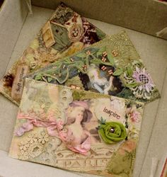 Postcards - added fabric