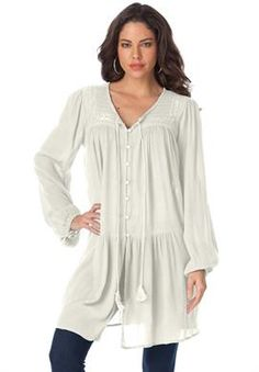 Embroidered Drop Waist Bigshirt | Plus Size Shirts and Blouses | Roamans