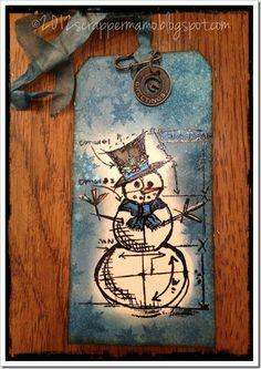 snowman blueprint tag w border