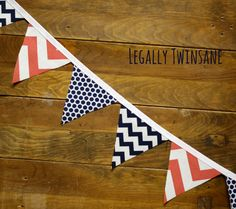 Fabric Bunting banner coral navy blue chevron by LegallyTwinsane, $13.00